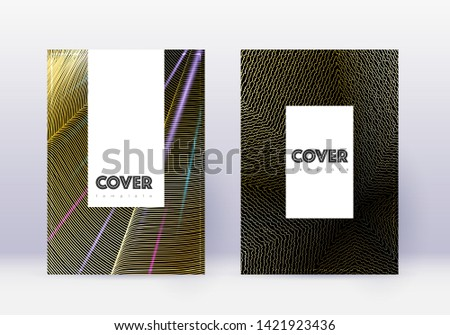 Hipster cover design template set. Gold abstract lines on black background. Charming cover design. Amazing catalog, poster, book template etc.