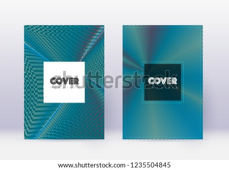 Hipster cover design template set. Red abstract lines on white blue background. Curious cover design. Amazing catalog, poster, book template etc.