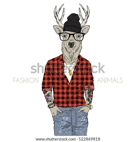 hipster deer dressed up in plaid shirt, furry art illustration, fashion animals, hipster animals, anthropomorphism