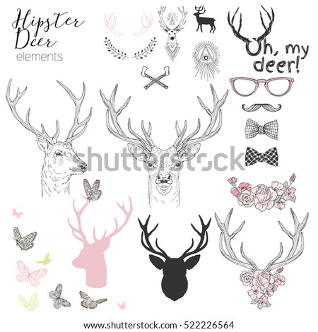 hipster deer elements set for