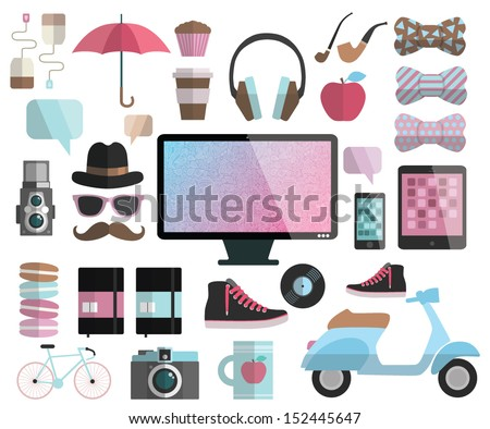 Hipster design flat elements - computer display, headphones, bow, apple, scooter, sneakers, tea, coffee, cup, mug, muffin, cupcake, hat, glasses, mustache, camera, umbrella, record, bicycle, moleskin