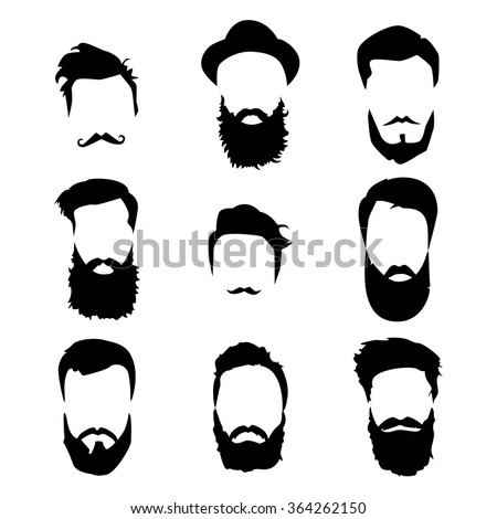 Hipster detailed hair and beards set. Fashion bearded man. Long beard with facial hair. Beard isolated on white background. Vector illustration EPS10