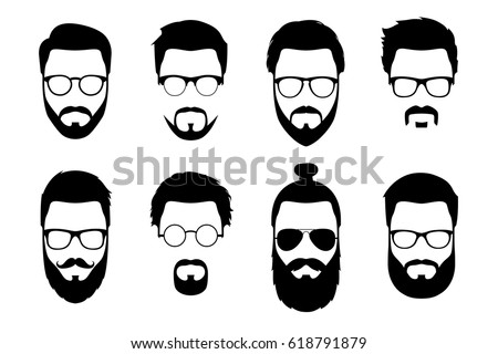 Hipster detailed hair and beards with sunglasses set. Fashion bearded man faces. Long beard with facial hair. Beard isolated on white background. Hipsters with different haircuts, mustaches, beards.