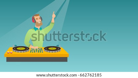 Hipster DJ with beard mixing music on the turntables. DJ playing and mixing music on the deck. Caucasian DJ in headphones mixing music at a party. Vector flat design illustration. Horizontal layout.