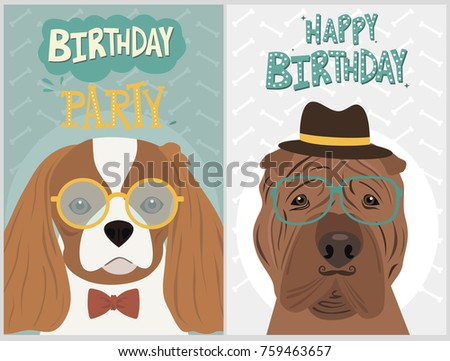 Hipster Dog Card For Birthday Card Posters And Labels Vector