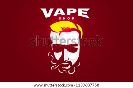 Hipster dude with mustache and beard. Man with vape and cloud. Electronic Cigarette. Vector. Stickers, Logo, Emblem