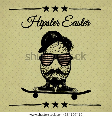 hipster easter poster with egg