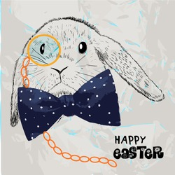 Hipster Easter rabbit. Card with sketch  hand drawn illustration