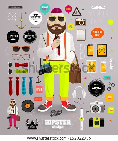 Hipster elements and icons set with Hipster Character for vintage style  design. Shutterstock Mobile  Royalty Free Subscription Stock Photography