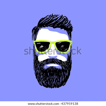 Hipster fashion bearded man portrait in sunglasses, Hand drawn vector illustration