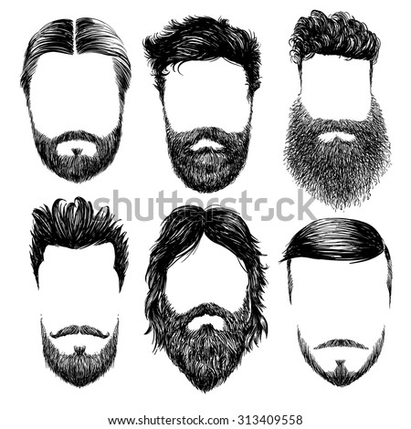 Hipster fashion man hair and beards, Hand drawn vector illustration set