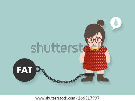 hipster fat woman with iron