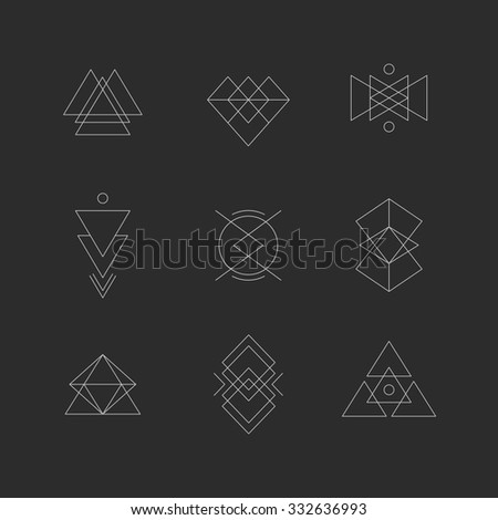 Hipster geometric shapes. Triangles, lines, circles, squares.