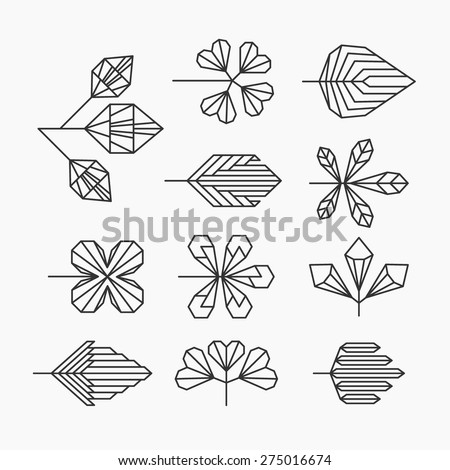 hipster geometrical leaves  set