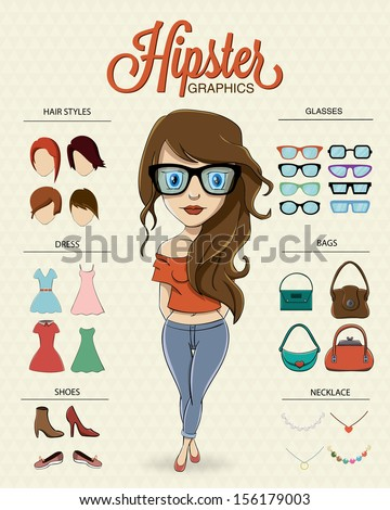 hipster girl character with