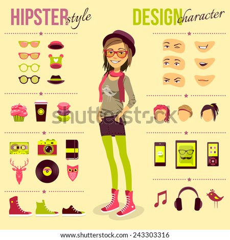 hipster girl set with fashion