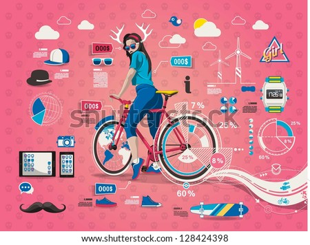 hipster girl with bicycle,info graphic,