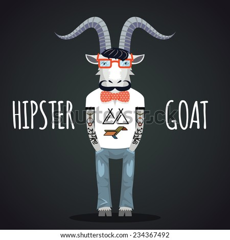 hipster goat wearing