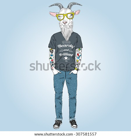 hipster goat with tattoo