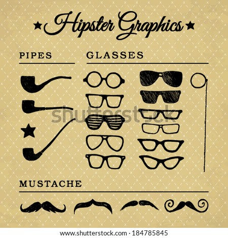 hipster graphic set on the
