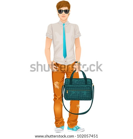Hipster guy, isolated vector illustration