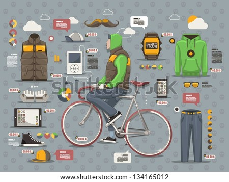 Hipster guy on a bicycle vector background info graphic