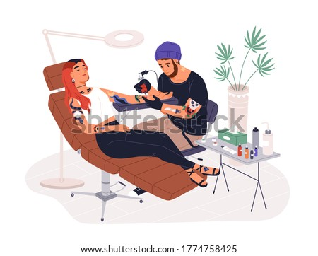 Hipster guy tattoo master at work vector illustration. Professional tattooer working with female client use ink machine at studio isolated on white. Male tattooist create adornment on hand
