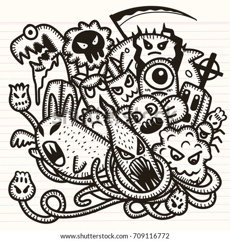hipster hand drawn crazy doodle