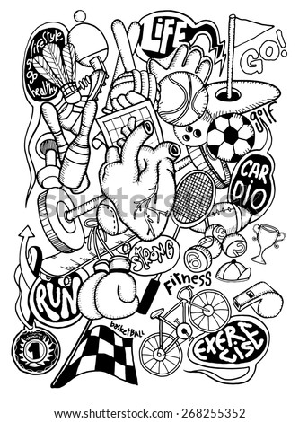 hipster hand drawn doodle sport