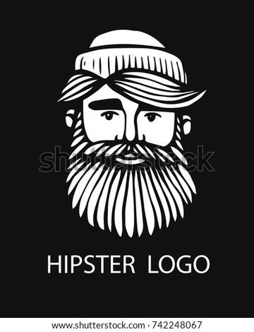 Hipster head with beard. Hand-Drawn Doodle. Vector Illustration - stock vector. Hand drawn cartoon character. Bearded man