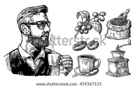 Hipster holding a cup of hot coffee. Sack with beans with wooden scoop, branch with leaf and berry. Vintage vector engraving illustration. Isolated on white background.