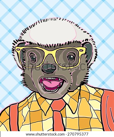 hipster honey badger vector
