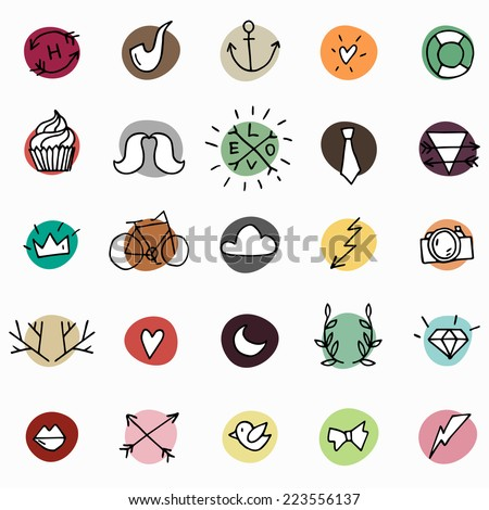 Hipster icon set on bright colorful circles, different hand drawn elements, vector doodles