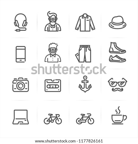 Hipster icons with White Background