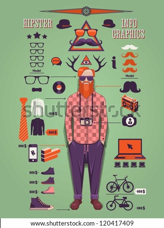 Hipster info graphic background,hipster elements and icons, - stock vector