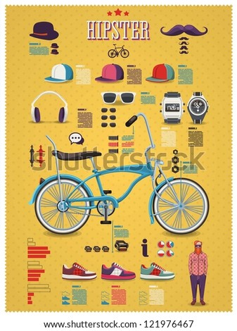 Hipster info graphic background with bicycle hipster elements and icons