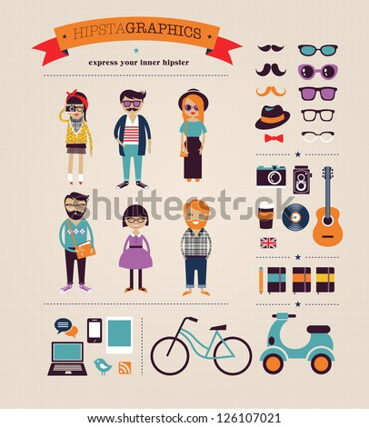 Hipster infographic concept background with icons