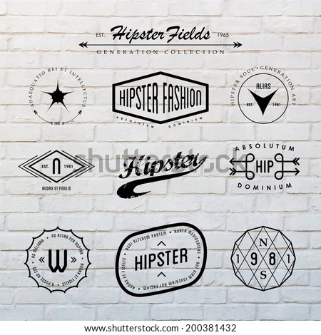 Hipster labels template set with inspiring latin phrases on white brick wall background.