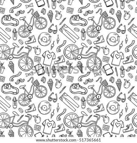 Hipster lifestyle seamless pattern background. Hand drawn vector illustration with bicycle, ice cream, t-shirt, apple, mustache and coffee.