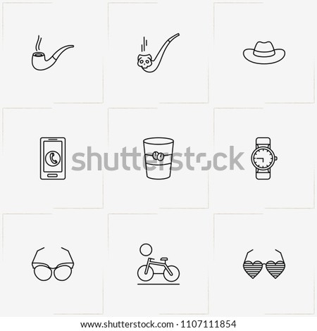 Hipster line icon set with smart phone, hat and bicycle #1107111854