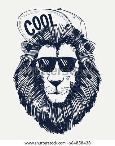 Hipster lion vector illustration. For t-shirt and other uses.