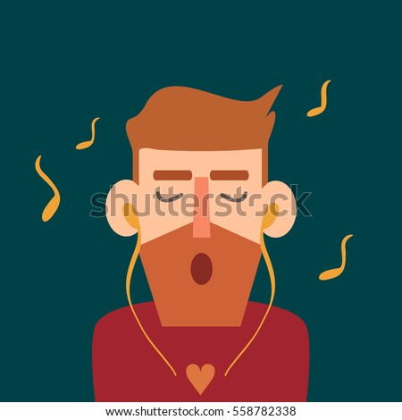 Hipster listening to music. Bearded man singing song. Object in flat cartoon style. Vector illustration