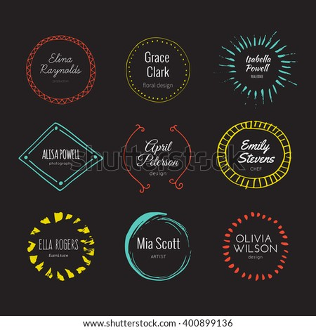 Hipster logo template collection. Abstract hand sketched shapes for branding design. Real ink texture.