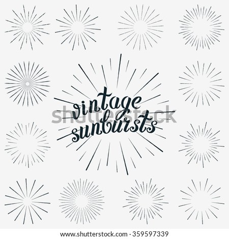 Hipster Logo Vector. Set Sunbursts Graphic Elements. Vintage Decoration labels Isolates on White For Invitations, Greeting Cards, Posters. Shine Star Illustration