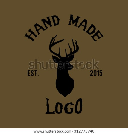 hipster logo with head of deer