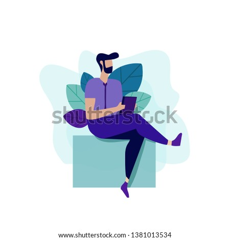 Hipster Man Book Notebook Card Knowledge Self-Education Key to Success and Richness Motivation Landing Page Presentation Social Media Banner Flat Cartoon Vector Illustration Plant Leaves Decoration