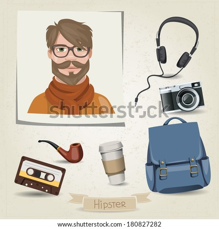 Hipster man portrait with his accessories
