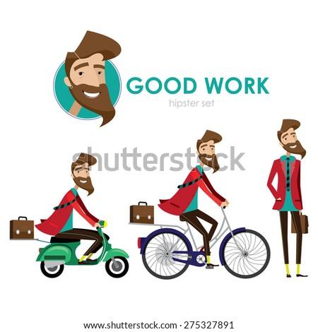 hipster man walking  riding a