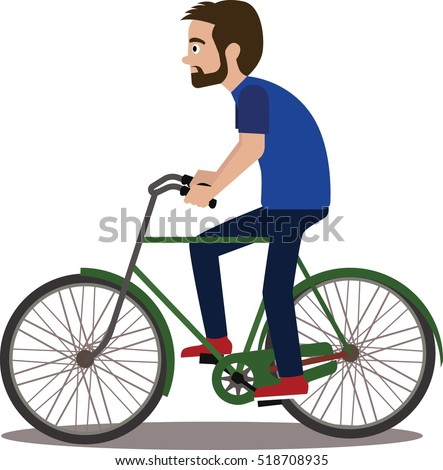 hipster man with bike isolated
