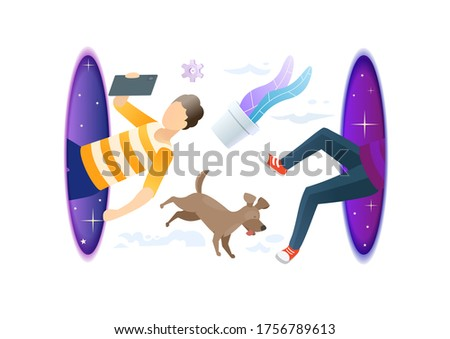 hipster man with dog flying